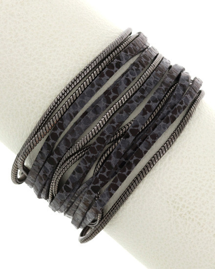 Animal Print / Leather / Metal / Leatherette / Multi Strand / Magnetic / Band / Matte Silver Tone / Black / Grey / Bracelet