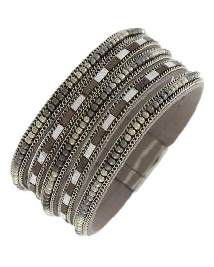 etal / Leatherette / Seed Beads / Multi Strand / Magnetic / Band / Silver Tone / Hematite / Bracelet