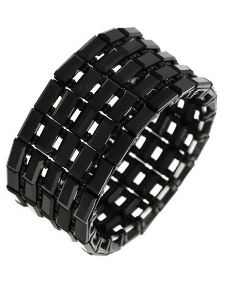 Acrylic / Metal / Rhinestone / Adjustable / Stretch / Black / Black / Bracelet