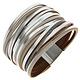 raduating/multi Row / Magnetic / Band / Matte Silver Tone / Black / Grey / Silver / Bracelet
