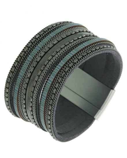 Leatherette / Metal / Magnetic / Matte Silver Tone / Black / Grey / Bracelet