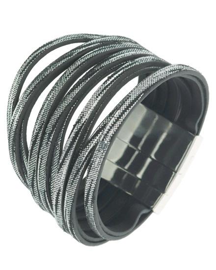Leatherette / Metal / Multi Strand / Magnetic / Silver Tone / Black / Silver / Bracelet