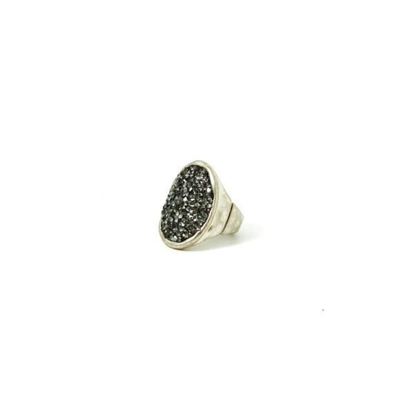 ADJUSTABLE SHIMMER OVAL Ring (SILVER)