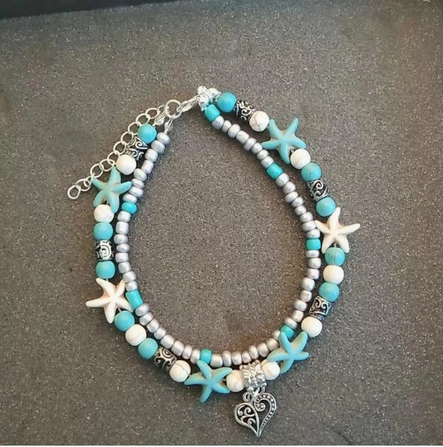 Ocean Breeze - Beaded Turquoise Anklets - Heart