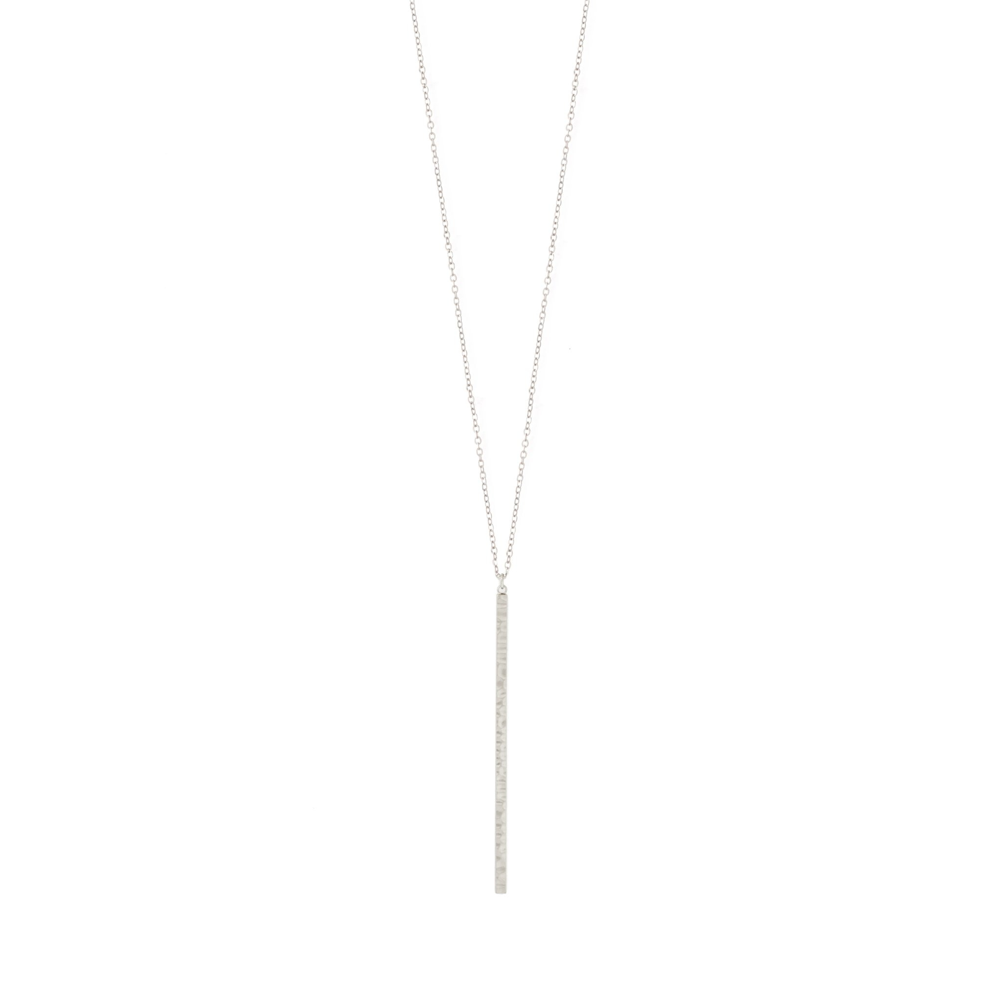 Long narrow hammered bar Silver