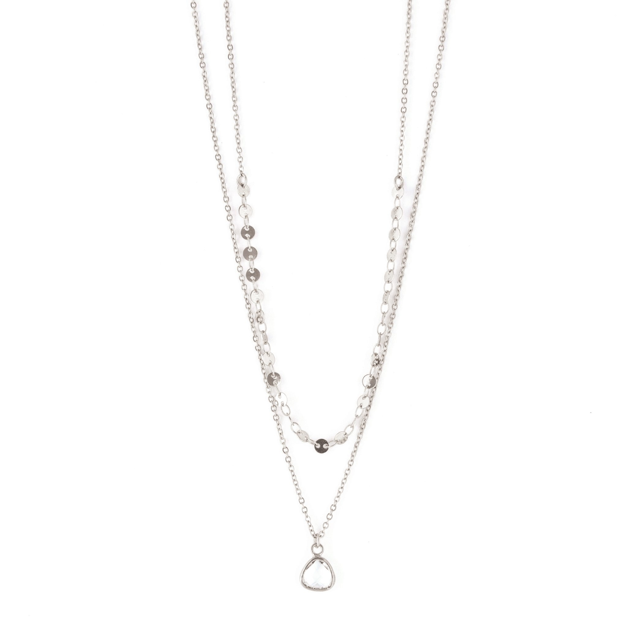 2 Layer necklace with circle chain & small clear crystal charm Silver