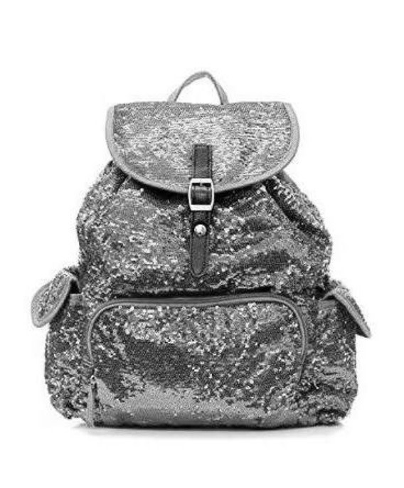 Sequin Backpack Solid Silver Gray