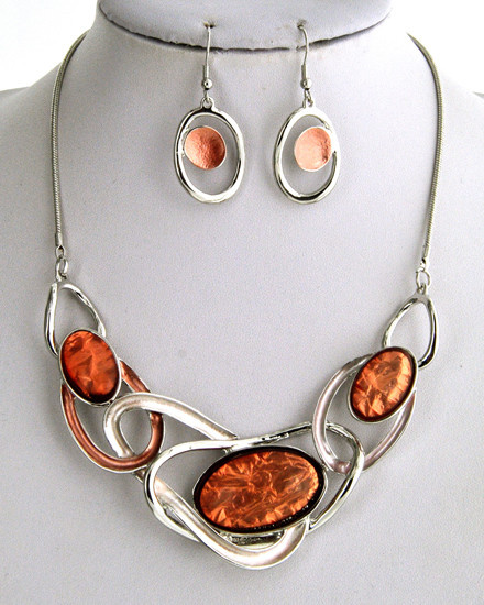 NECKLACE & EARRING SET - SILVER/ORANGE