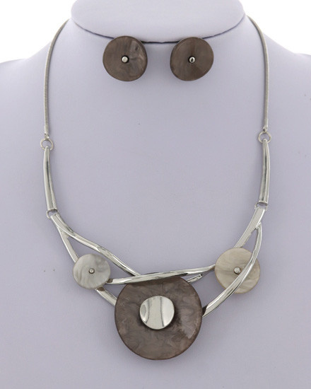 NECKLACE & EARRING SET - SILVER/GREY