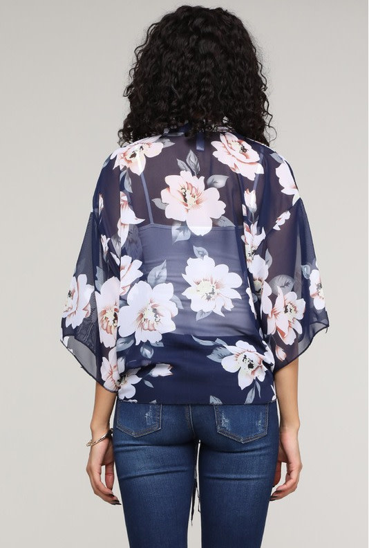 Floral Kimono Self Tie