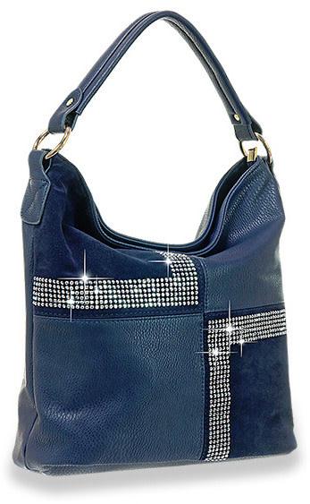 Four Square Design Hobo Handbag Blue
