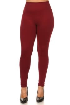 Mid Waist Leggings Plus Wine Red