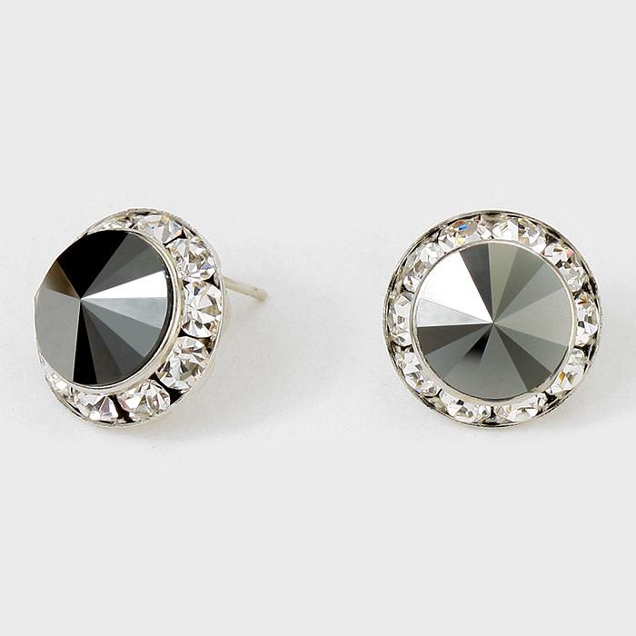 Rivoli Cut Genuine Austrian Crystal Round Stud Earrings Clear-Hematite-Rhodium