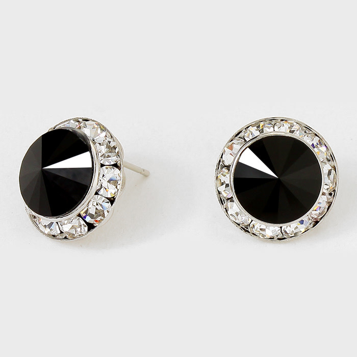 Rivoli Cut Genuine Austrian Crystal Round Stud Earrings Clear-Rhodium-Black