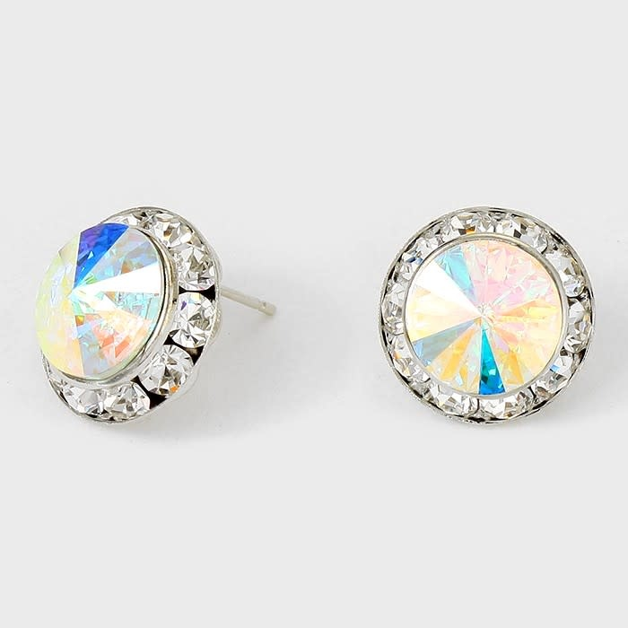 Rivoli Cut Genuine Austrian Crystal Round Stud Earrings Clear-Silver