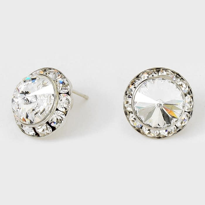 Rivoli Cut Genuine Austrian Crystal Round Stud Earrings Clear-Rhodium