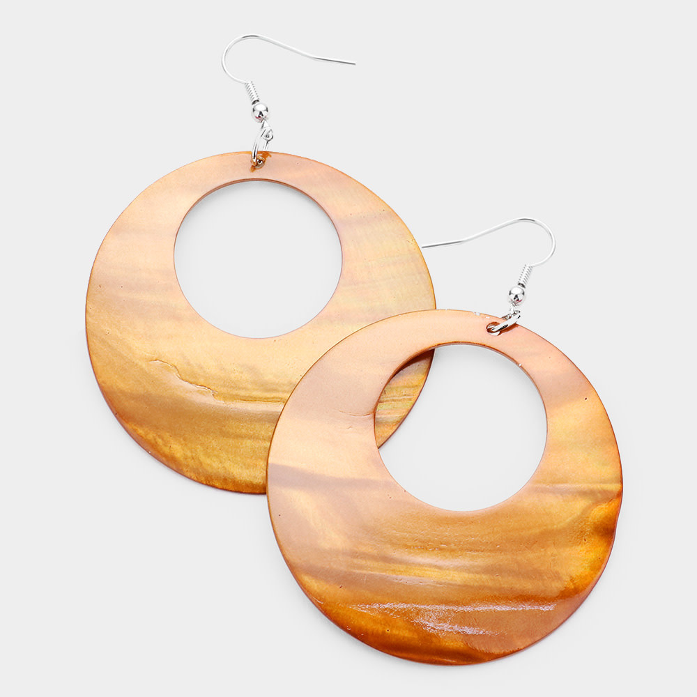 Round Shell Dangle Earrings Brown