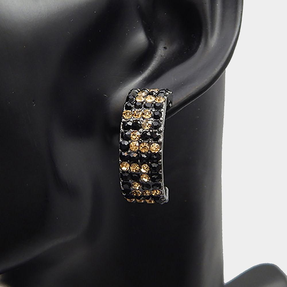 Greek Pattern Rhinestone Pave Earrings