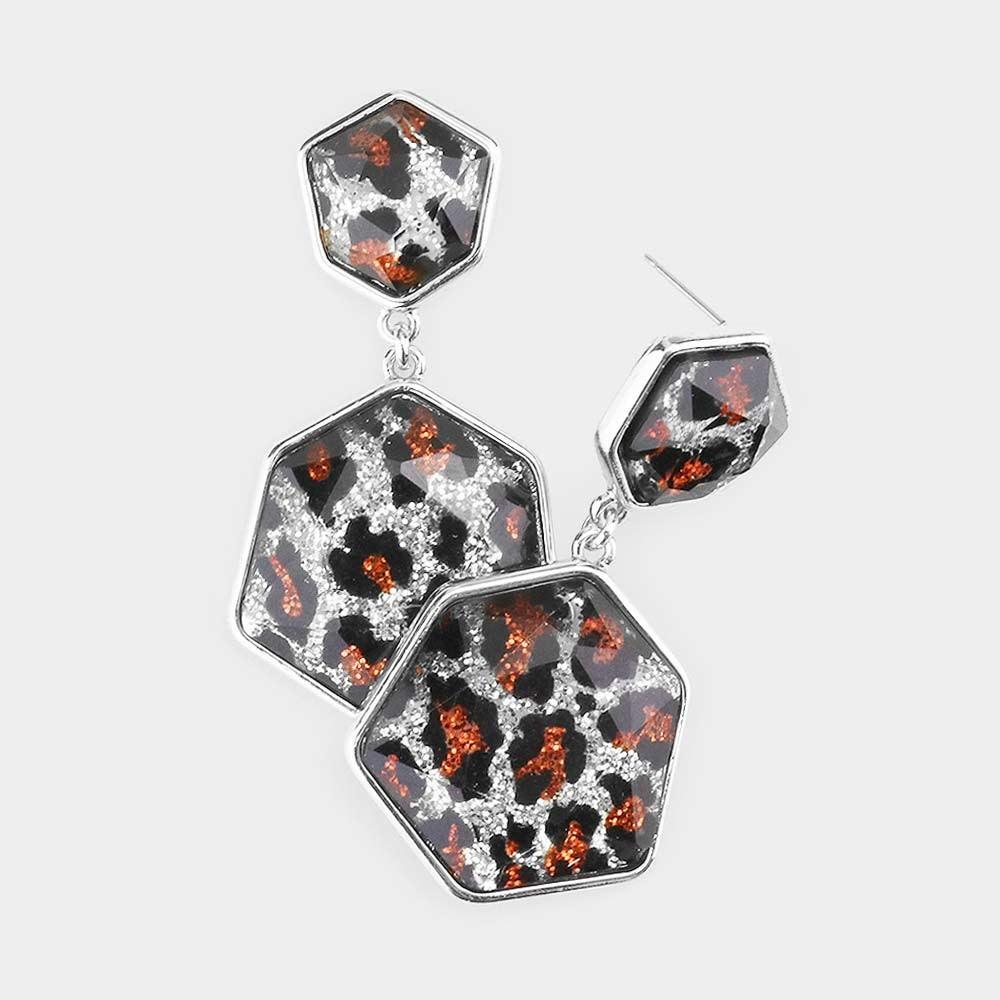Glitter Leopard Double Hexagon Bead Link Earrings