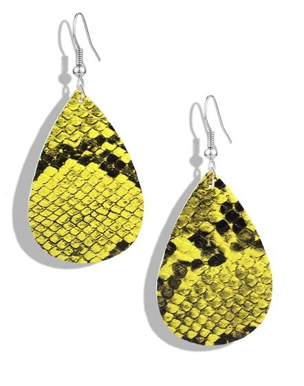 Snake Skin Yellow Earrings