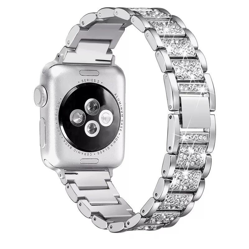 Luxury Stainless Steel Diamond Women's Watch Band for Apple Watch