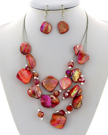 NECKLACE & EARRING SET - SILVER/RED