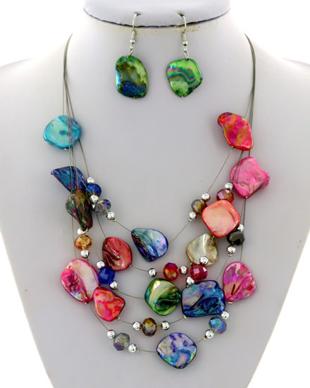 NECKLACE & EARRING SET - SILVER/MULTI