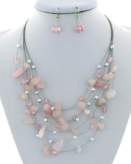 NECKLACE & EARRING SET - SILVER/PINK