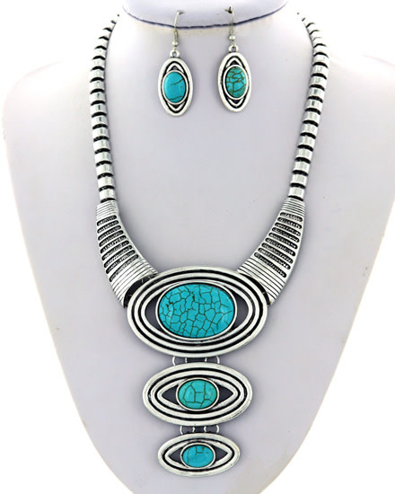 NECKLACE & EARRING SET - SILVER/TURQUOISE