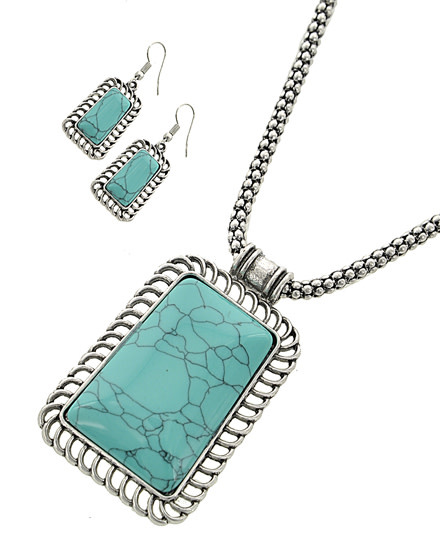 NECKLACE & EARRING SET - TURQUOISE