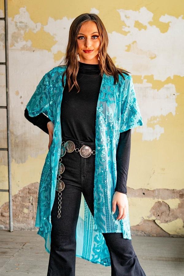 Sequin Lace Kimono