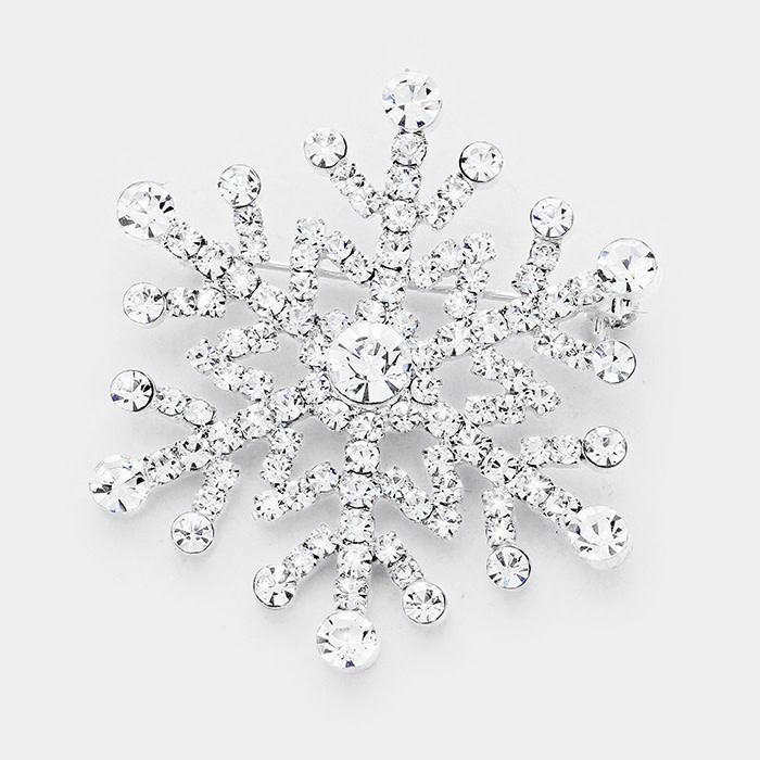 Crystal Pave Snowflake Pin Brooch