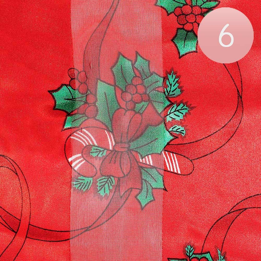 Silk Feel Christmas Pattern Print Scarf