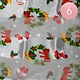 Silk Feel Christmas Wreath Gloves Pattern Print Scarf White