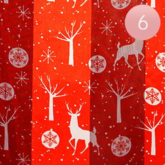 Silk Feel Striped Reindeer Snowflake Print Satin Scarves