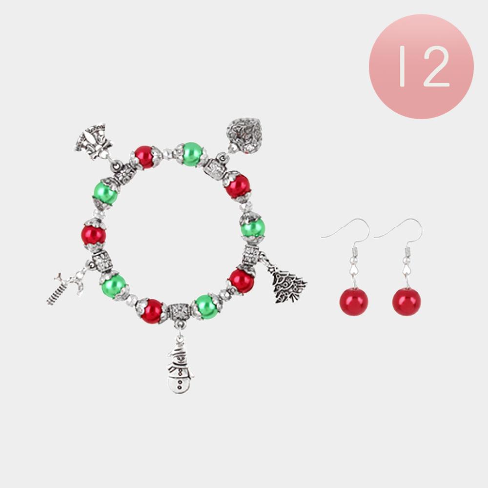 Christmas Theme Charm Stretch Bracelet And Earring Set