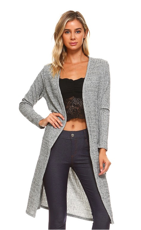 LS Ribbed Cardigan