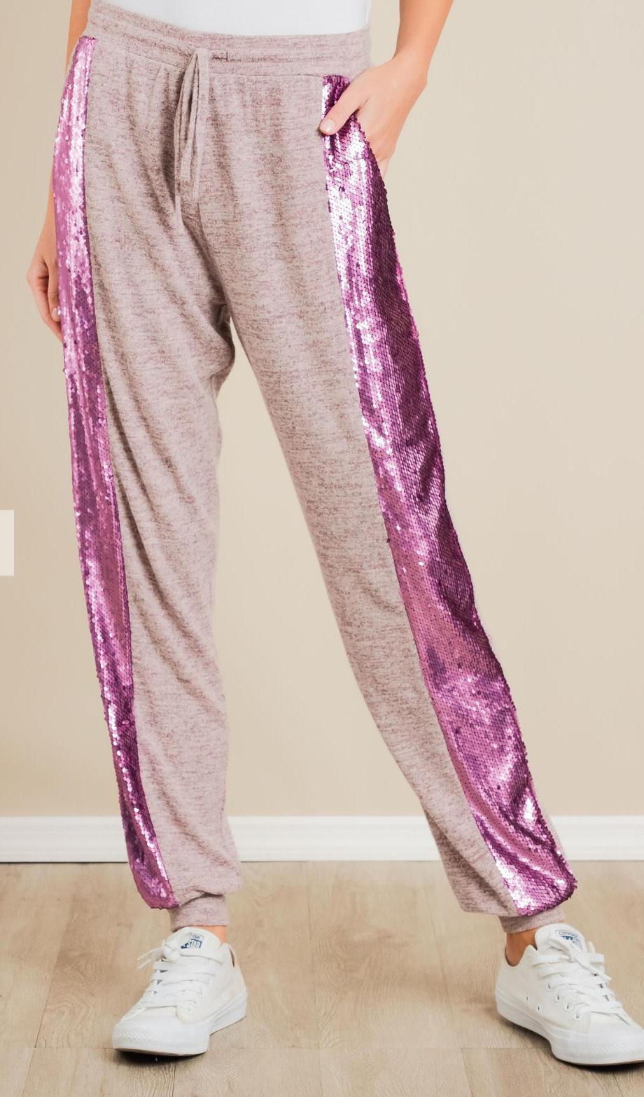 Sequin Contrast Pants