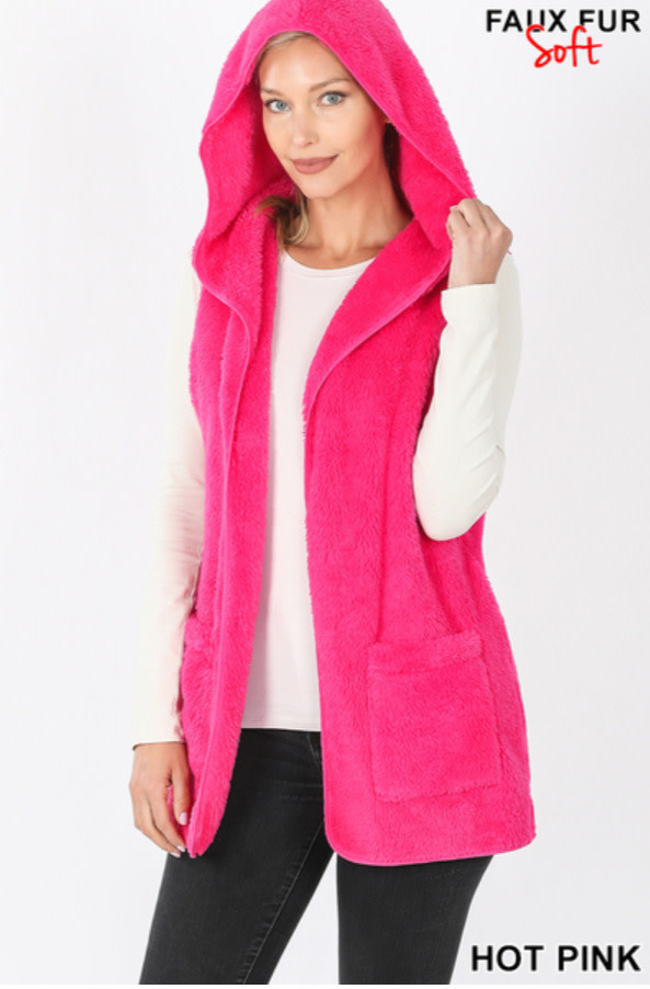 Hooded faux fur vest with side pockets