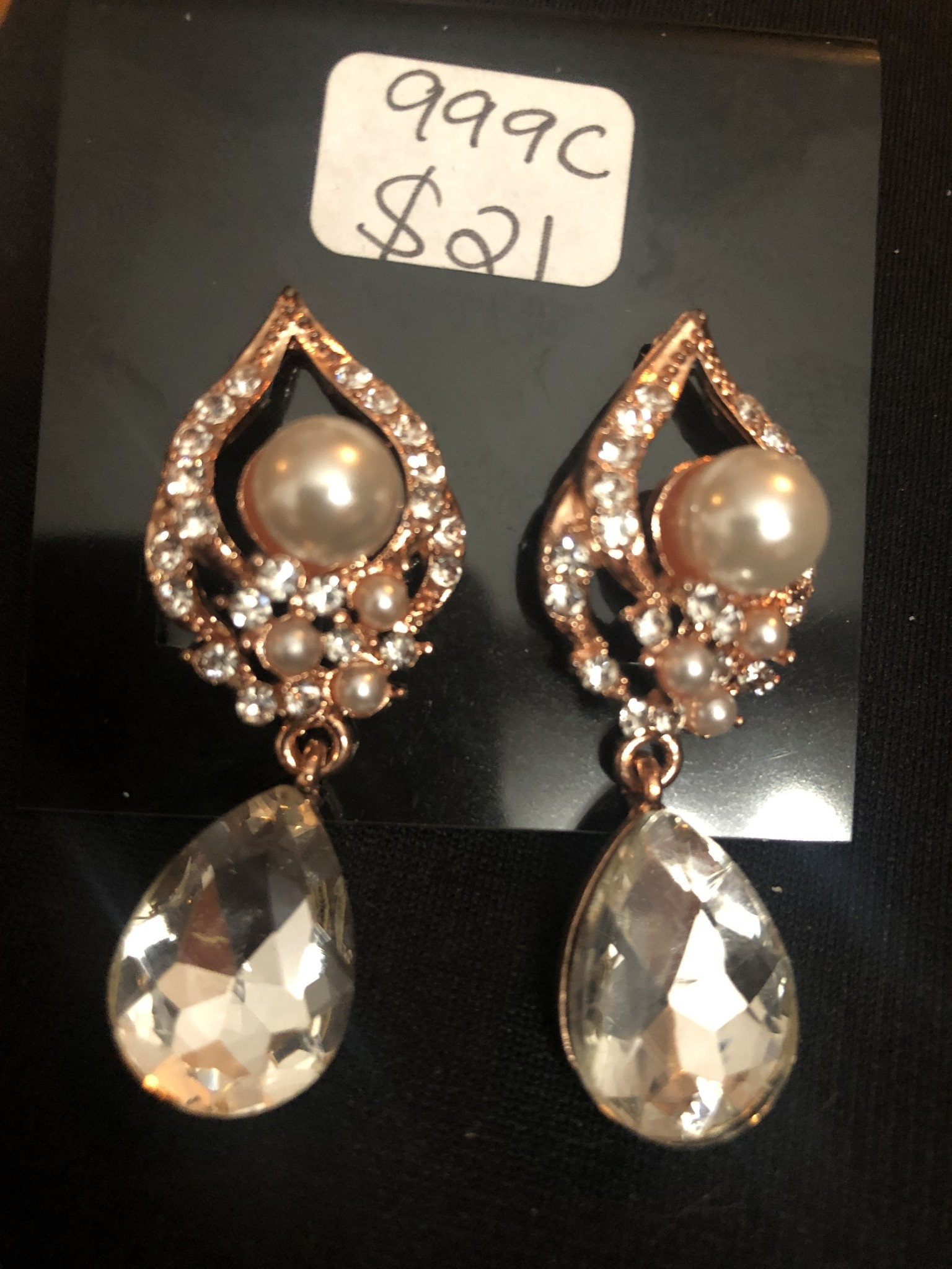 Pearl & Rose Gold with a Clear Tear Drop Earrings