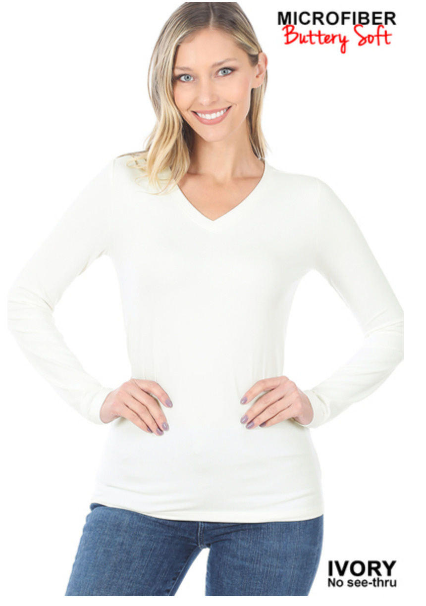 Brushed microfiber long sleeve v-neck tee