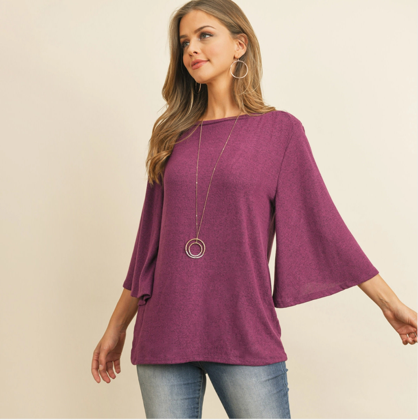 BOAT NECK BELL SLEEVE SOLID HACCI BRUSHED TOP