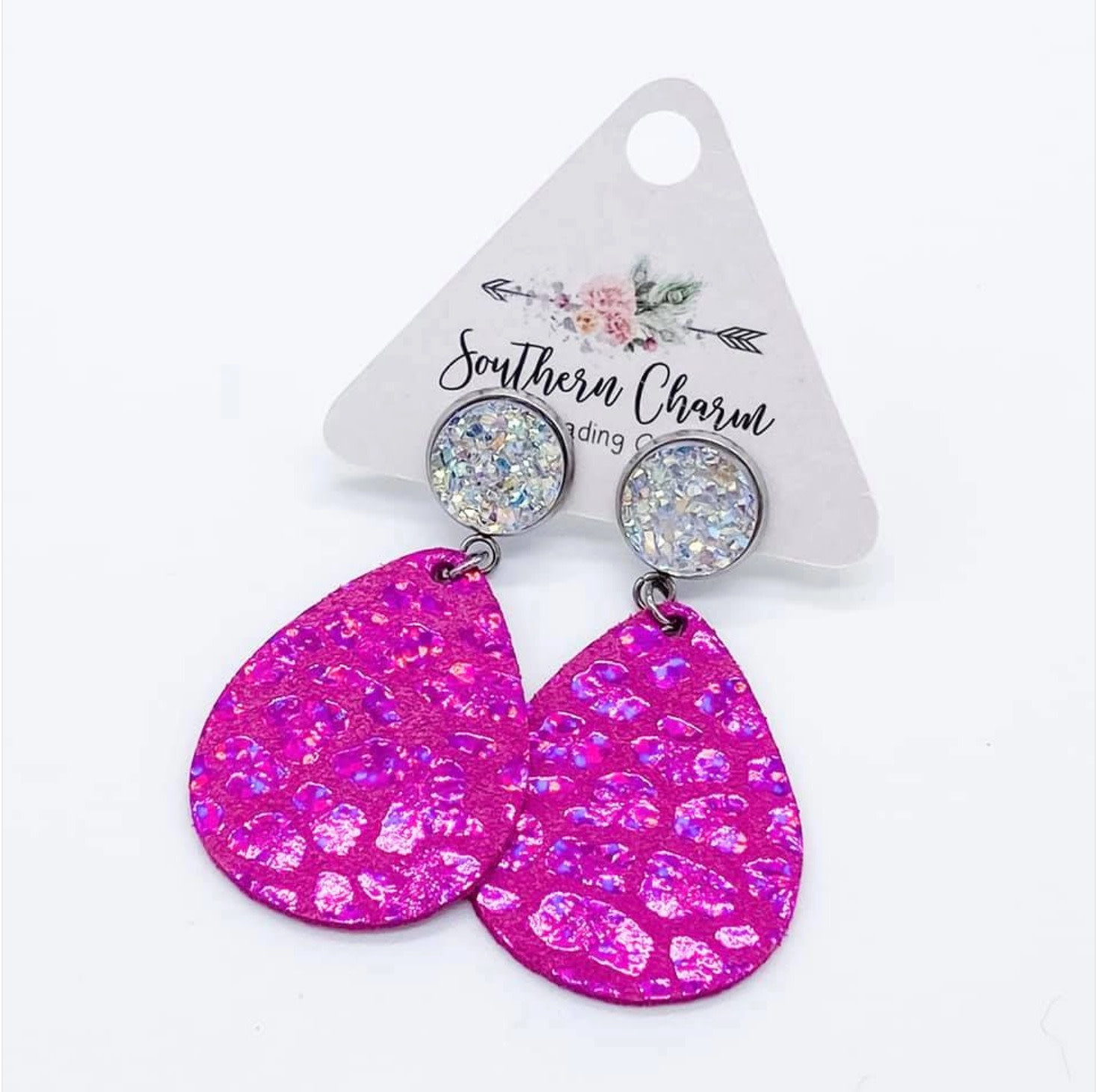 Coming in Hot Pink  and Crystal Dangles