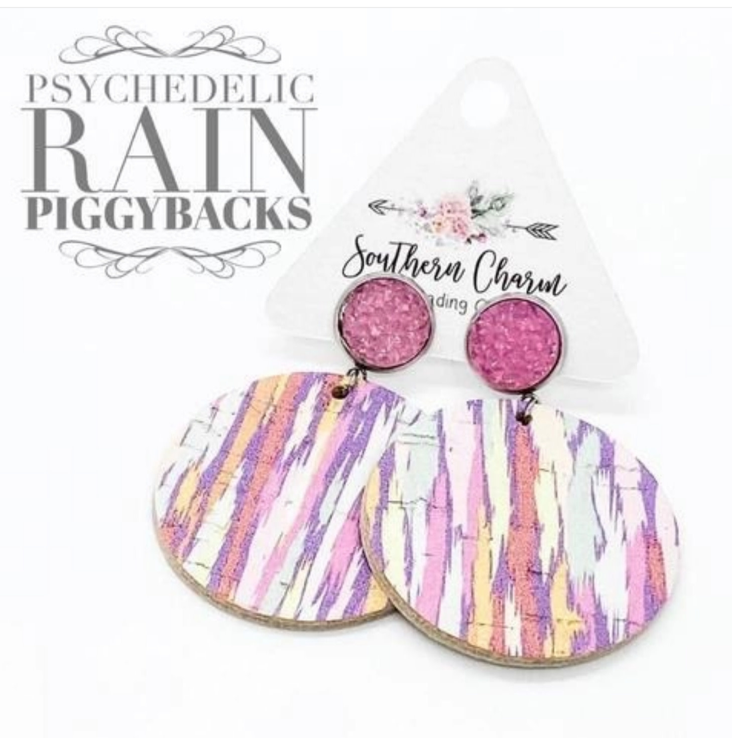 Pastel Pink Sparkles & Psychedelic Rain Dangle