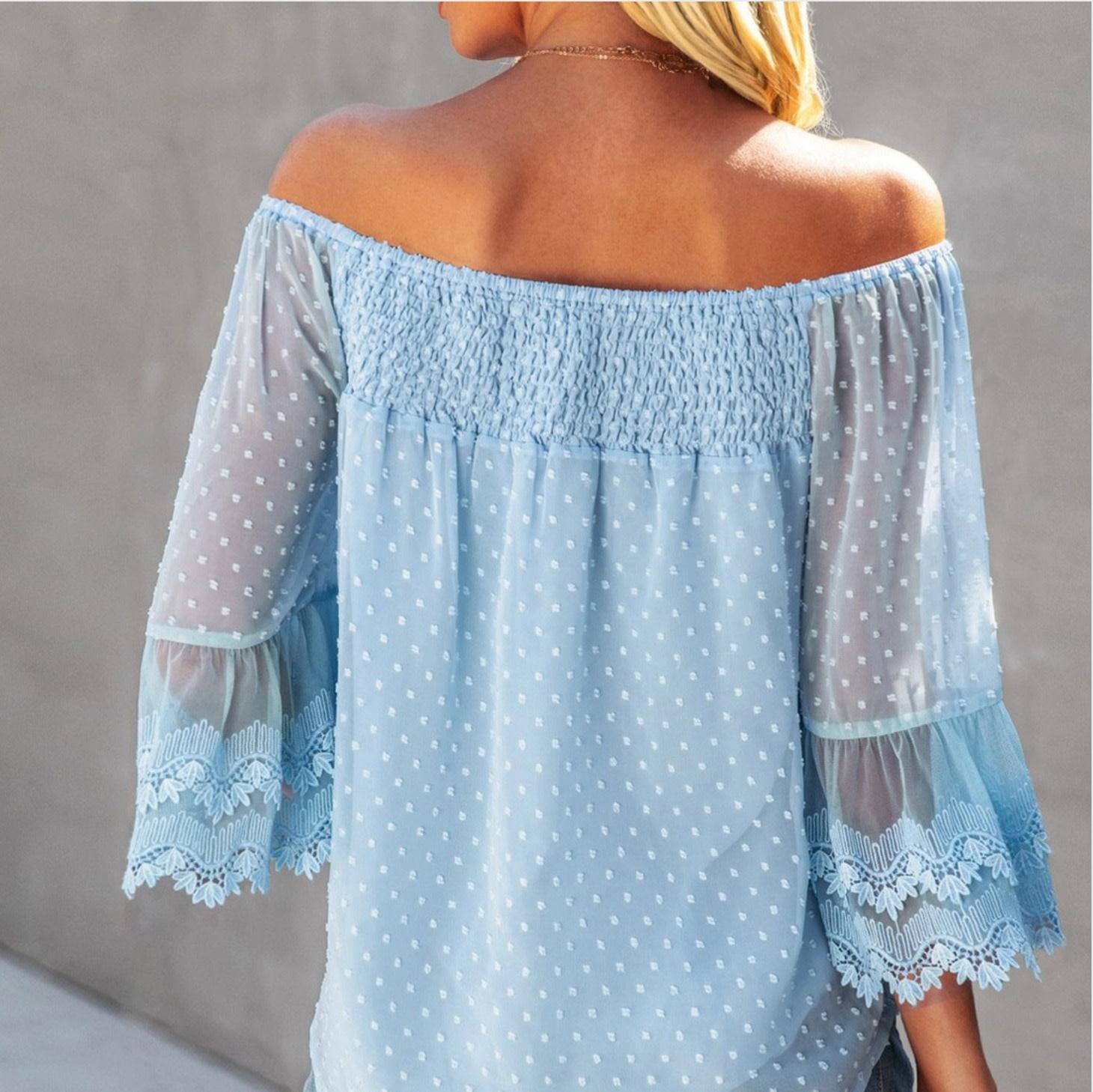 Lace off shoulder top