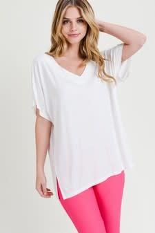 Short Sleeve V-Neck Oversized Top