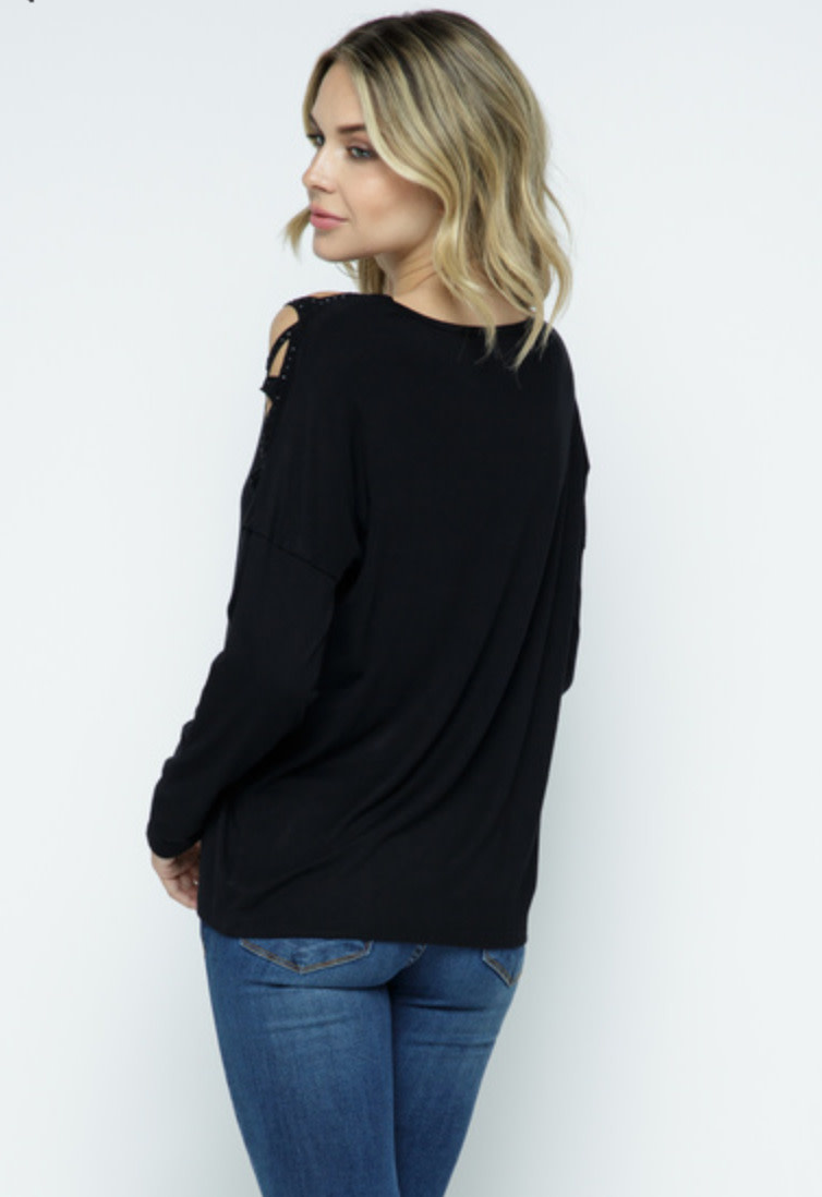 LASER CUT LONG SLEEVE TOP WITH BLING STONES
