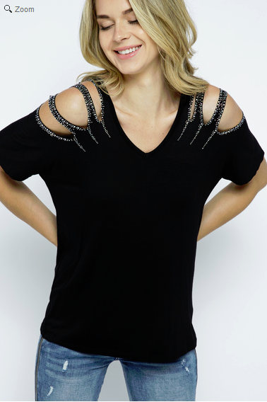 SHORT SLEEVE TOP WITH LASER CUT AND STONES ON SHOULDERS