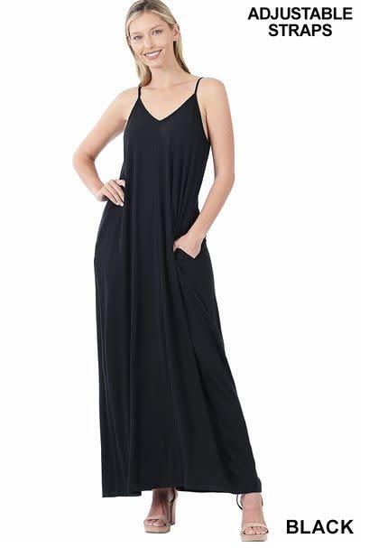 V-neck cami maxi dress with side pockets