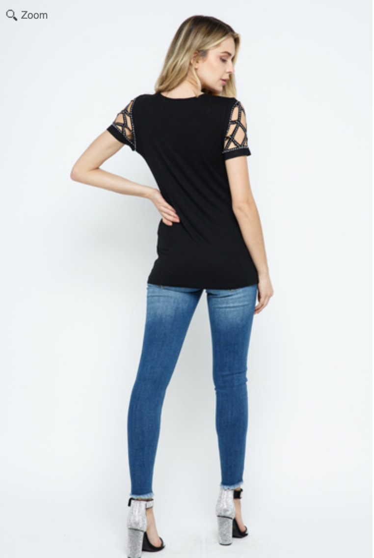 SHORT SLEEVE TOP WITH LASER CUT AND STONES